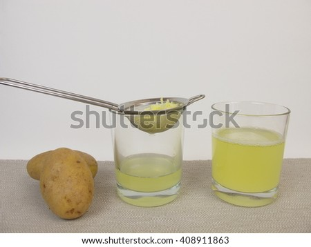 Freshly pressed raw potato juice