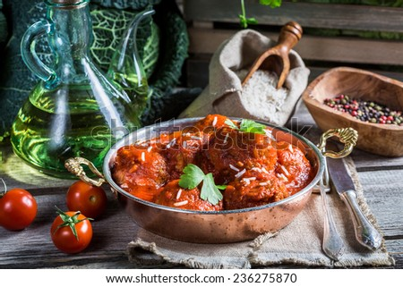 Freshly served meatballs in tomato sauce - stock photo