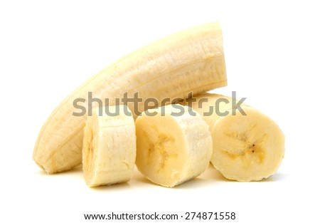 Freshly sliced bananas on a white background
