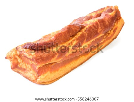 Freshly smoked pork isolated on white background. Meat dish cooked on the fire.
