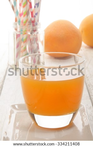 freshly squeezed cold orange juice in a glass - stock photo