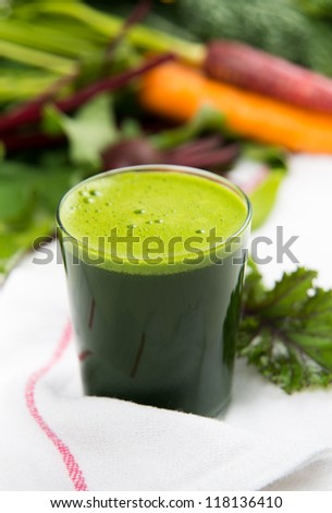 Freshly Squeezed Kale and Spinach Juice - stock photo