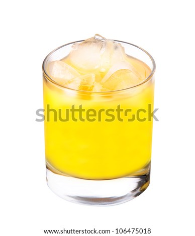 freshly squeezed orange juice against white background