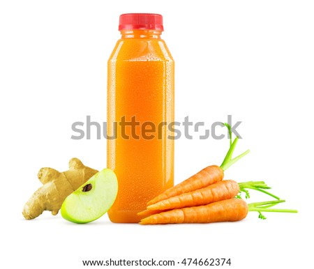 Freshly Squeezed Raw Carrot, Apple, and Ginger Juice in a Generic Bottle on White Background with Carrots on the Side.