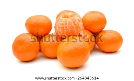 freshly tangerines on white background  - stock photo