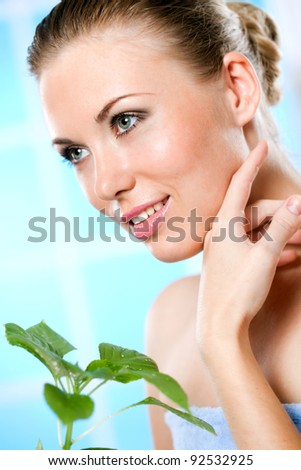 freshness and flavor of green leaves - stock photo