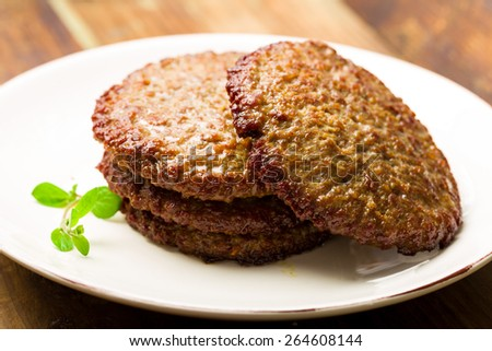 Freshness Burger patties fried on a plate - stock photo