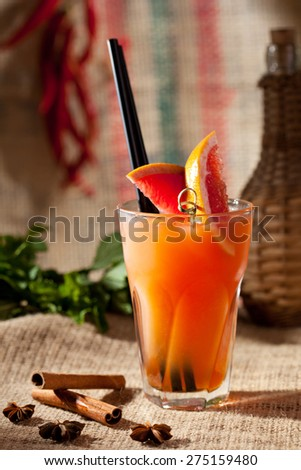 Freshness Cocktail with Grapefruit and Crushed Ice - stock photo