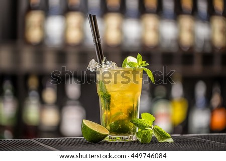 Freshness cocktail with mint, lemon and lime