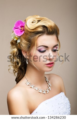 Freshness. Femininity. Beauty Portrait of Classy Woman with Flowers. Dreaminess - stock photo