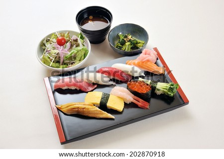 Freshness Japanese sushi with Miso soup and salad-2 - stock photo