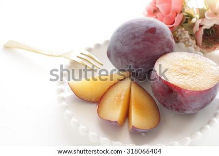 Freshness Plum from Japan Yamanashi Prefecture for autumn fruit image - stock photo