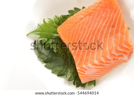 freshness salmon for Sake sashimi for Japanese food image