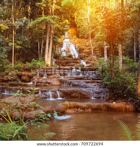freshness tropical waterfall in morning