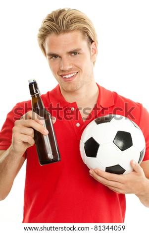 freude fußball bier blonder mann - stock photo