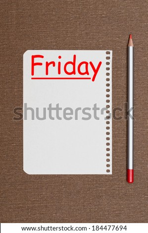 Friday planning. Business concept - stock photo