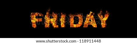 Friday text on fire - stock photo