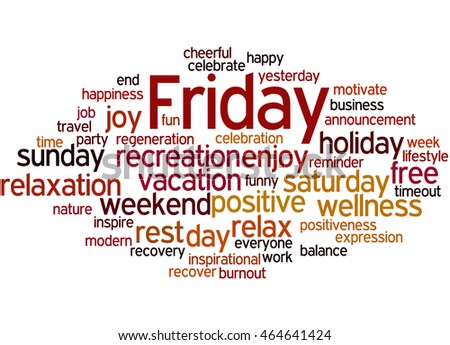 Friday, word cloud concept on white background.