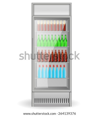Fridge Drink With Glass Door And With Water, Beer Bottles. Isolated On  White Background
