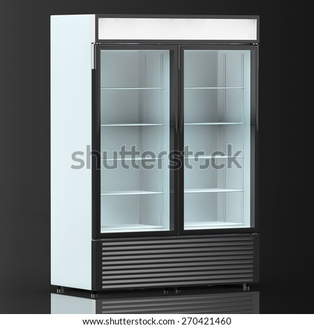 Fridge Drink with glass door on a black background - stock photo