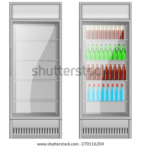 Fridge Drink with water and beer bottles. isolated on white background. Raster version - stock photo
