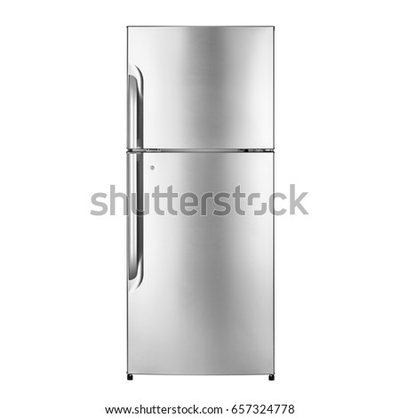 Fridge Freezer Isolated on a White Background. Front View of Stainless Steel Refrigerator. Clipping Path