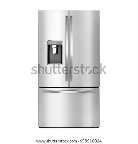 Fridge Freezer with Ice and Water System Isolated on a White Background. Front View of Stainless Steel Smart Refrigerator. Clipping Path