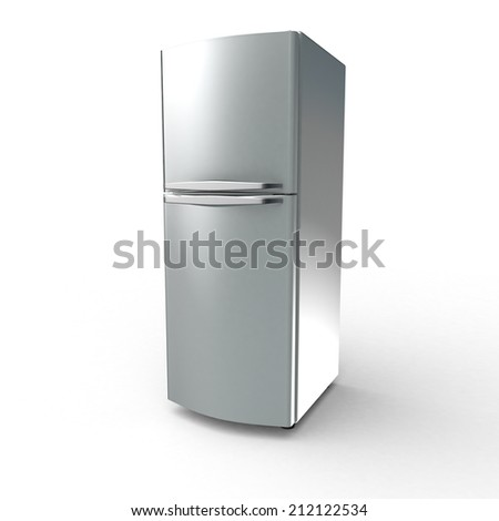 Fridge isolated metal with white background - stock photo