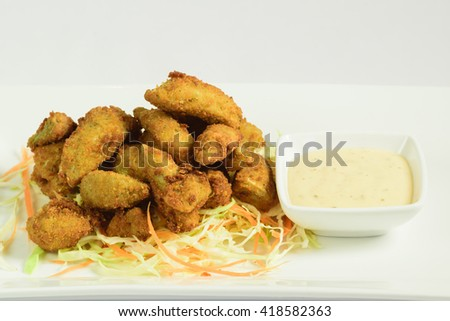 Fried Artichokes Hearts with Parsley and Lemon sauce
