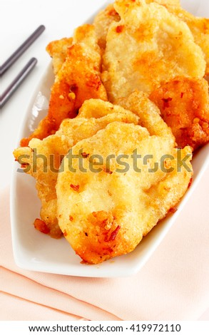 Fried Asian cuttlefish - stock photo