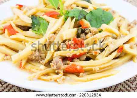 Fried bamboo shoot with pork and spicy ingredient,asian food