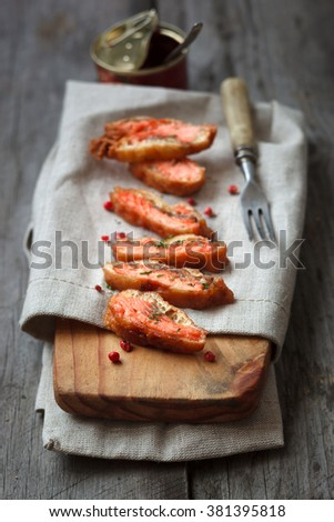 Fried battered salmon,selective focus