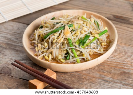 Fried bean sprouts, Vegetarian food.