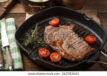 Fried Beef Steak In A Frying Pan