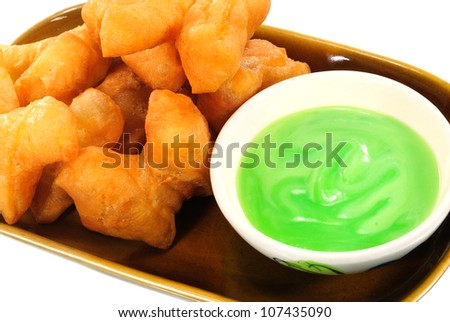 fried bread stick isolated on white background - stock photo