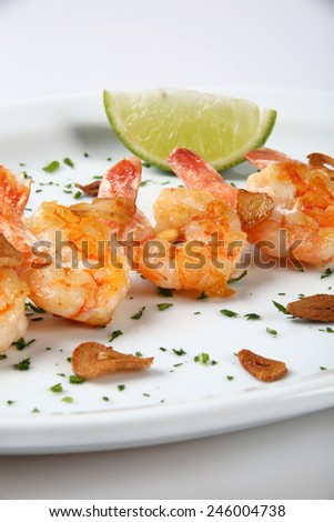fried breads shrimps on white