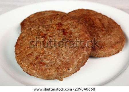 Fried Burger Beef Patty - stock photo