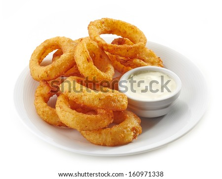 fried calamari rings and dip sauce on white plate isolated on white - stock photo
