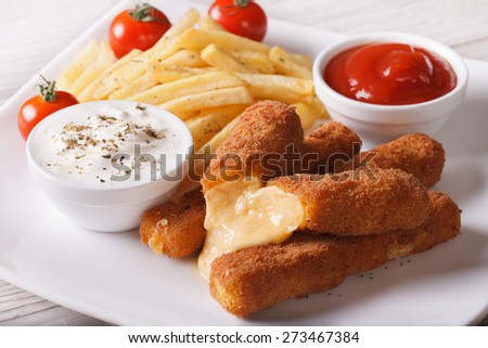 fried cheese and fries with sauce on a plate close-up, horizontal