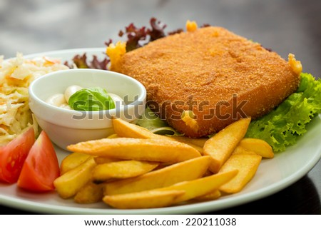 fried cheese with chips - stock photo