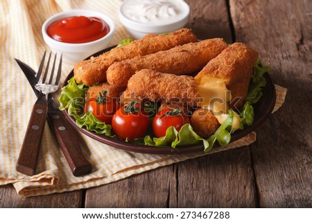 fried cheese with sauce and vegetables on a plate. Horizontal close-up - stock photo