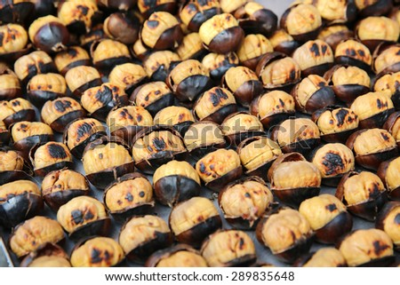 Fried Chestnuts for sale in Istanbul. Turkey - stock photo