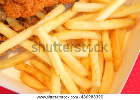 Fried chicken and french fries.