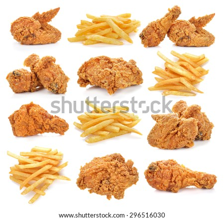 fried chicken and french fries on white background. - stock photo