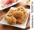 fried chicken and watermelon closeup - stock photo