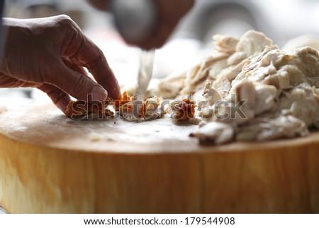 Fried chicken chopped - stock photo