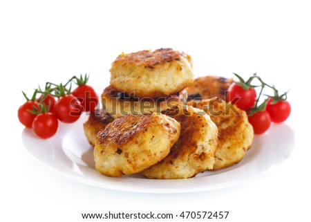 fried chicken cutlet with cherry tomatoes