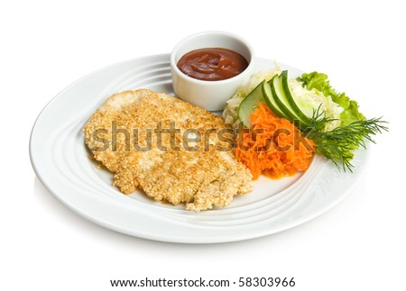 Fried chicken fillet coated with sesame and vegetable side dish. Isolated on white. - stock photo