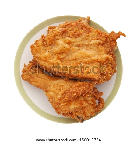 fried chicken in a white plate - stock photo