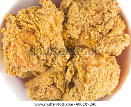 Fried chicken in big bucket box,top view on isolate - stock photo